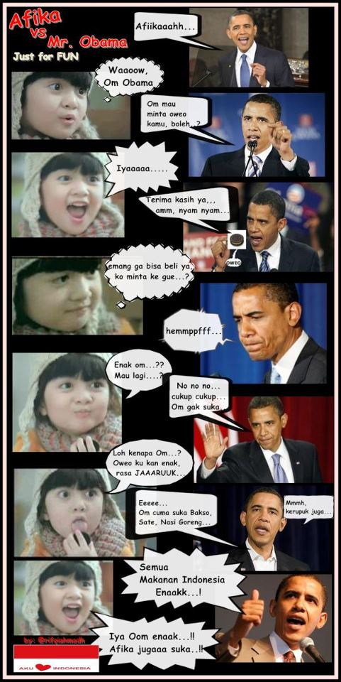 Cerita Lucu Komik Afika Oreo dan Obama Suka Makanan Indonesia