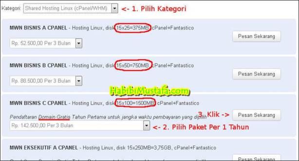 pilih paket domain dan hosting